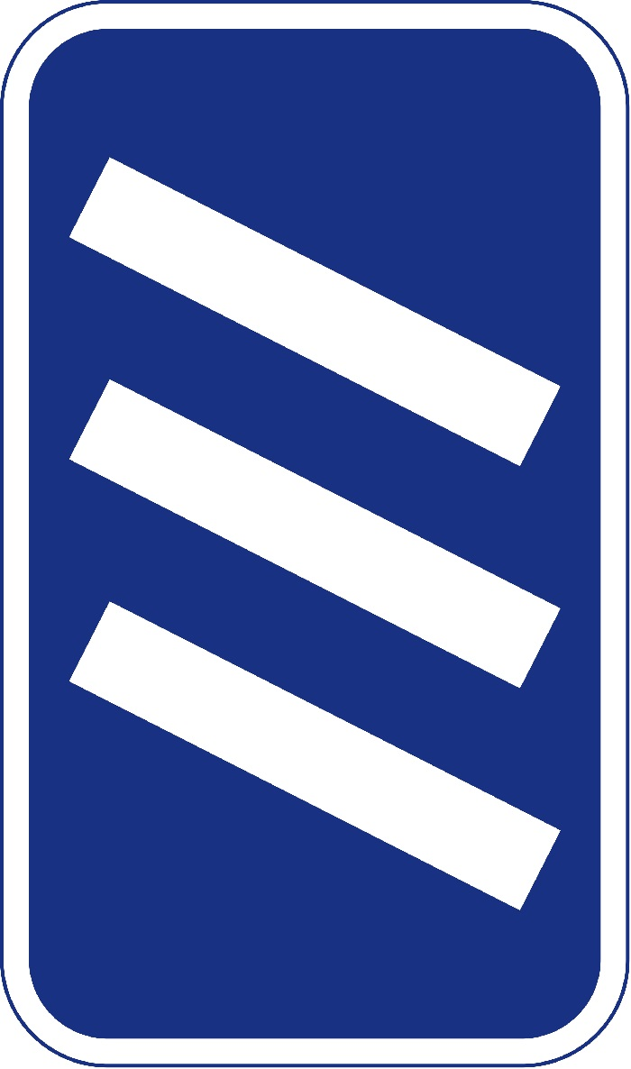 Coundown marker road sign, blue background with three white slanted rectangles