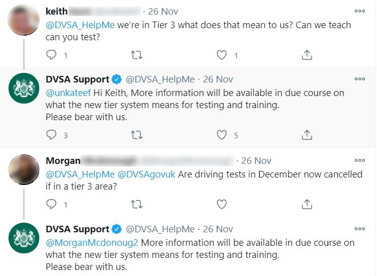 Screenshot of DVSA Support replying to queries on Twitter