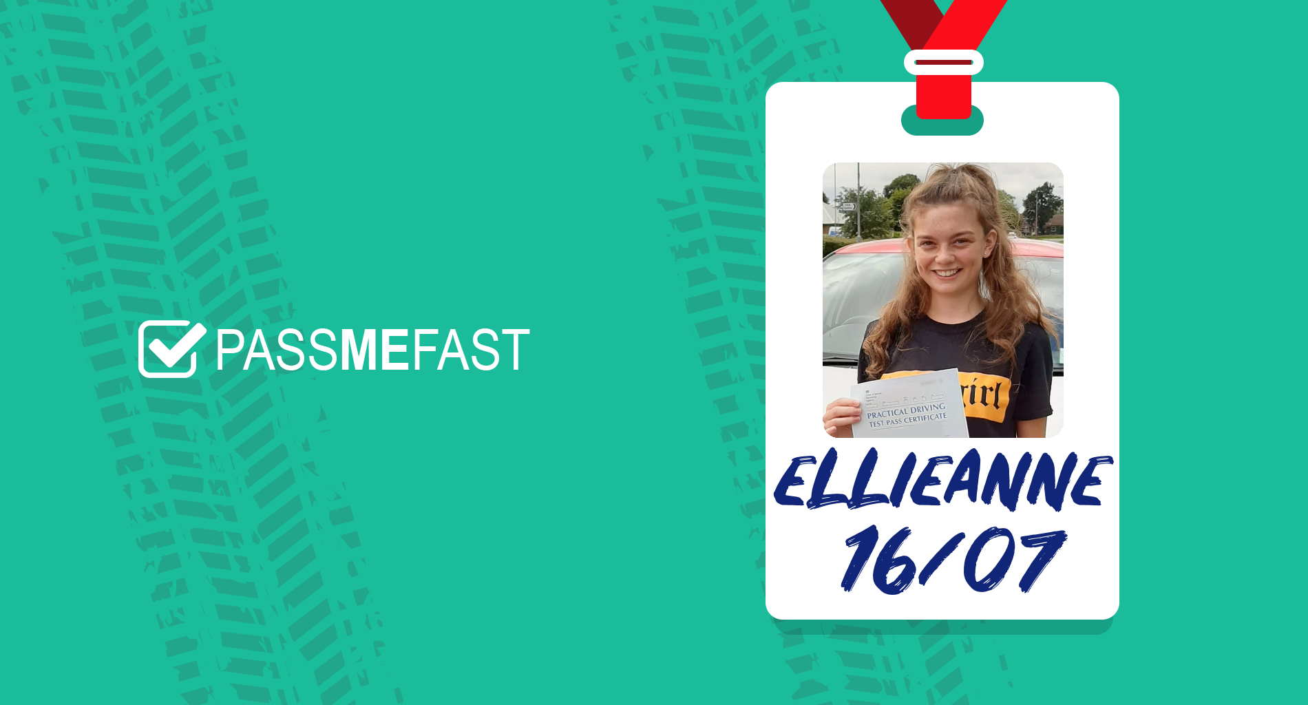 Pass photo of PassMeFast student Ellieanne in hall of fame frame