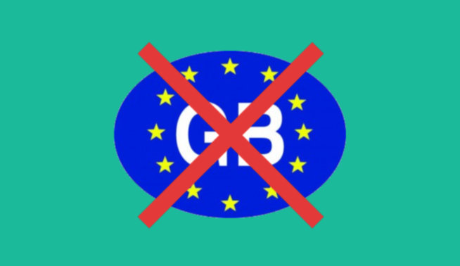 GB car sticker with 'cancel' cross through it
