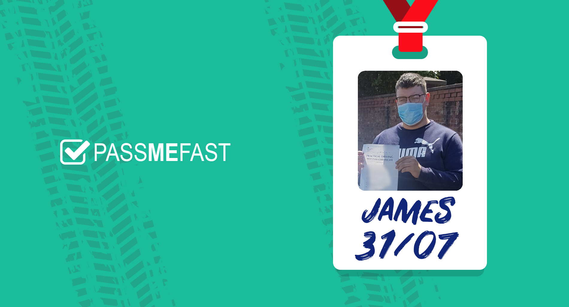 Pass photo of PassMeFast student James in hall of fame frame
