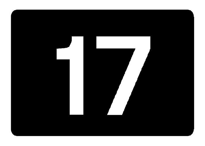 Junction sign, white 17 on black background