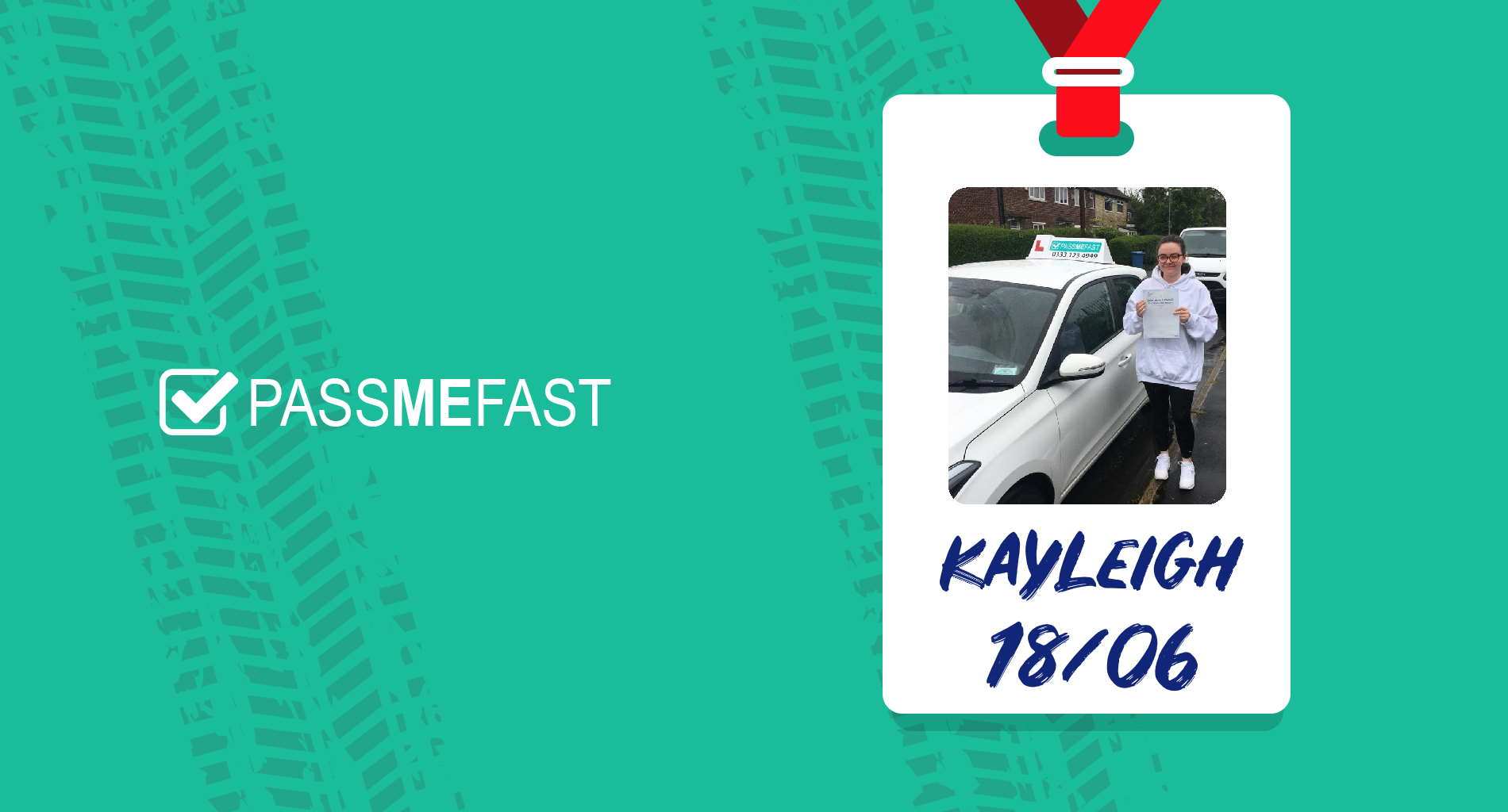 PassMeFast frame surrounding pass picture of Kayleigh