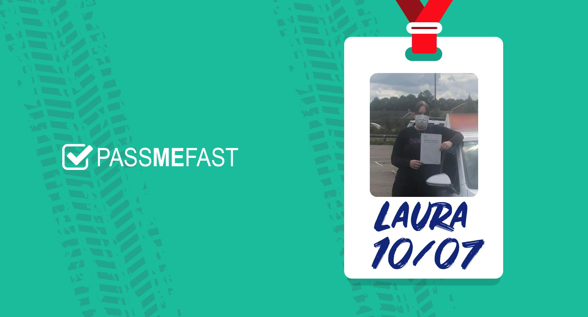 Pass photo of PassMeFast student Laura in hall of fame frame