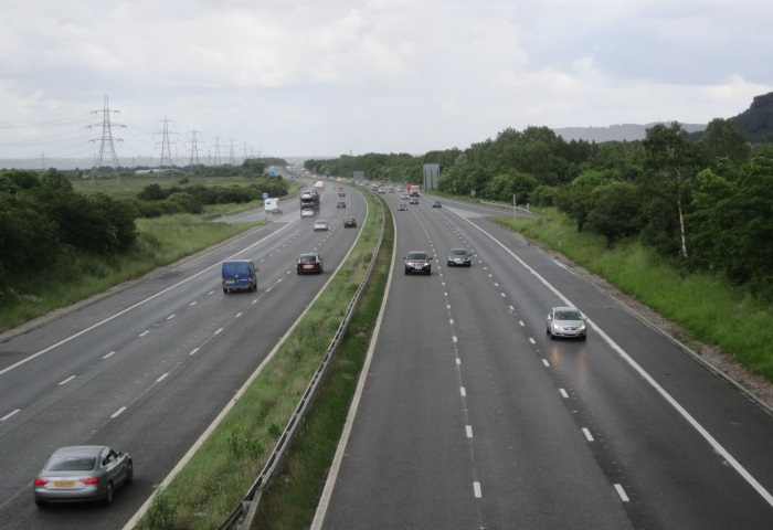 driving on the M56 motorway from the A5117