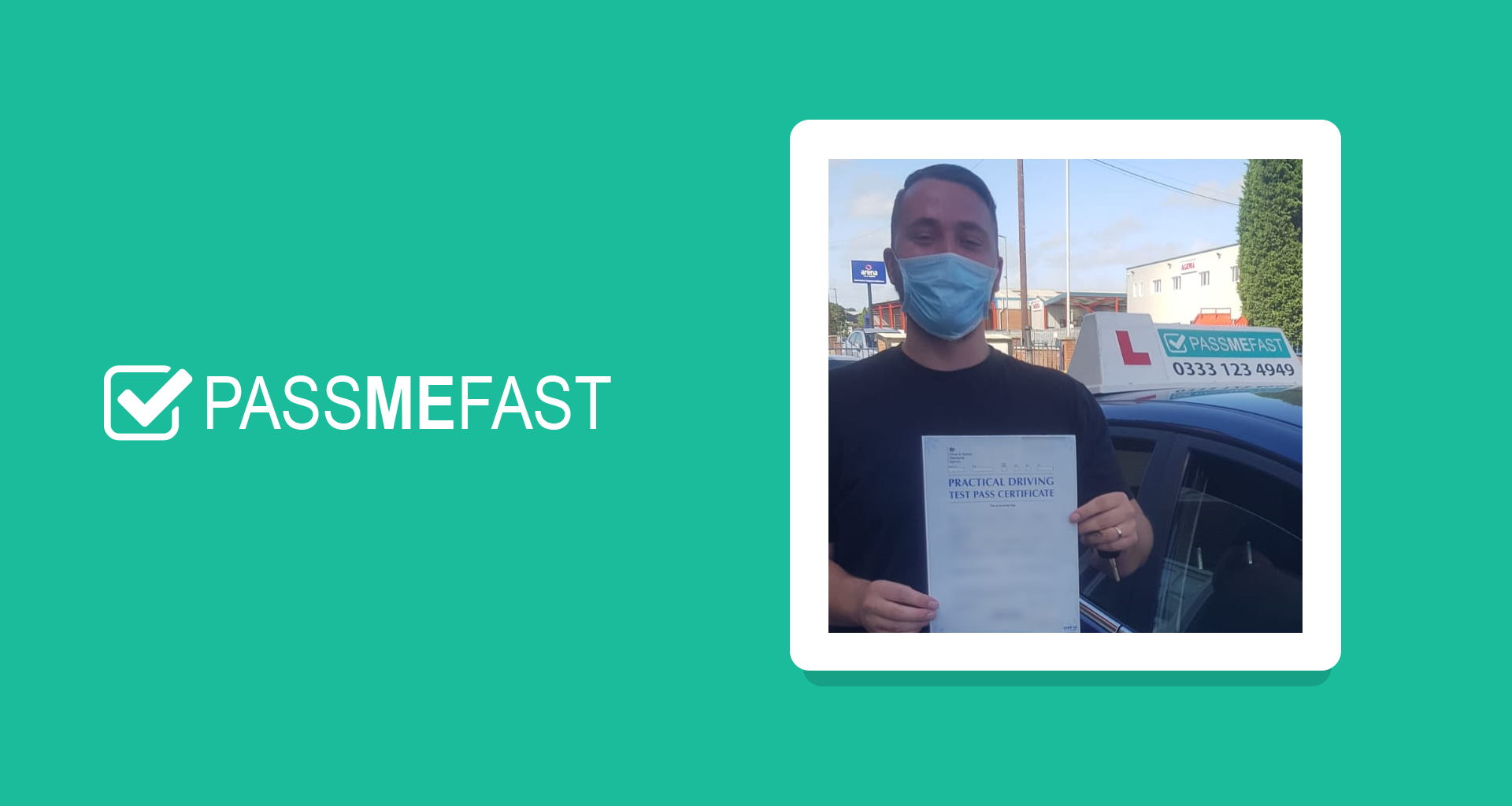 Pass photo of PassMeFast student Matthew in PMF frame