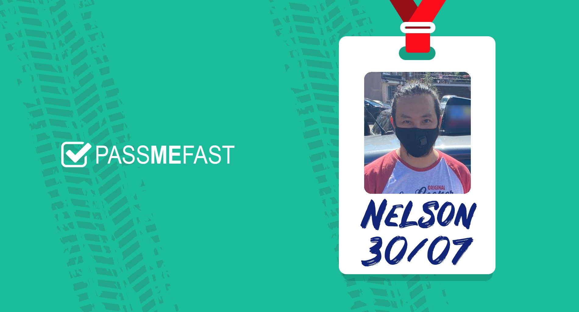 Pass photo of PassMeFast student Nelson in hall of fame frame