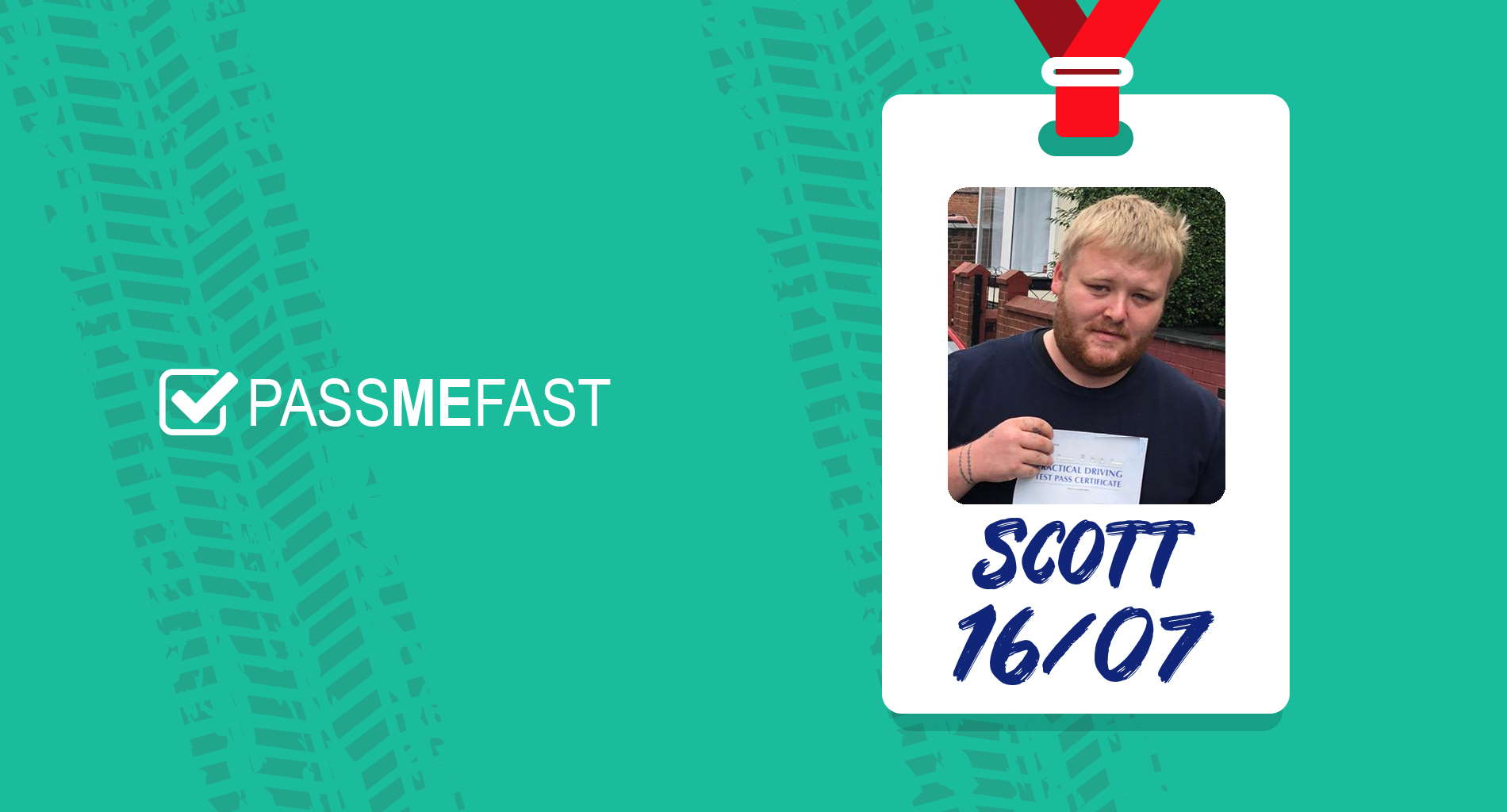 Pass photo of PassMeFast student Scott in hall of fame frame