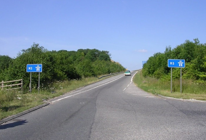 Slip Road entrance leading to M3