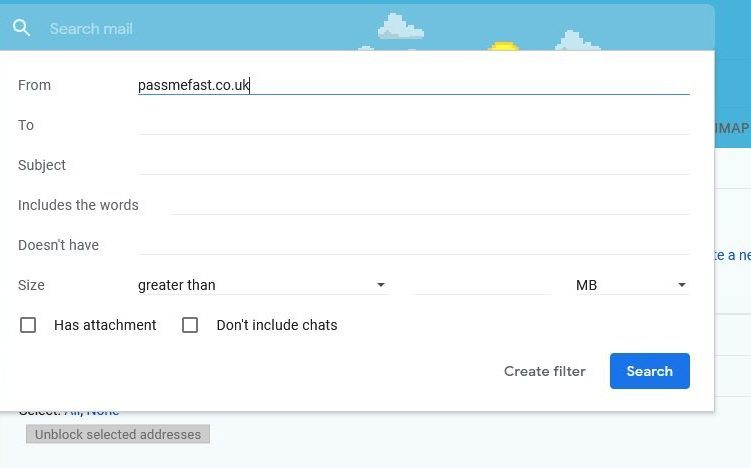 Screenshot of Gmail showing how to create filter so PassMeFast.co.uk emails are 'Never Send to Spam'