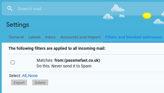 Screenshot of Gmail showing PassMeFast.co.uk listed under 'Never Send to Spam'