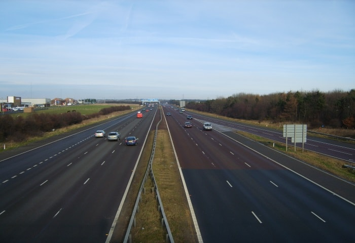 A1 motorway in Tyne and Wear