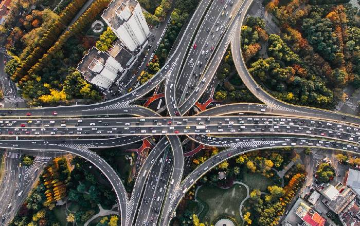 Aerial shot of busy road junction in China