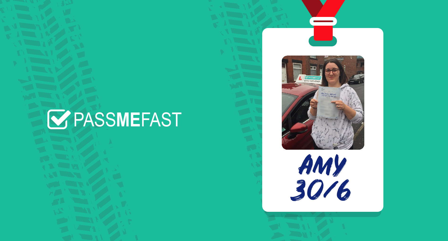 Pass photo of PassMeFast student Amy in hall of fame frame