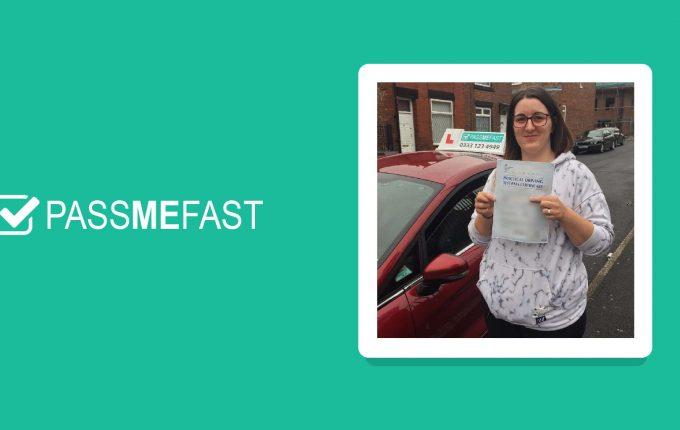 Pass picture of PMF student Amy in a branded frame