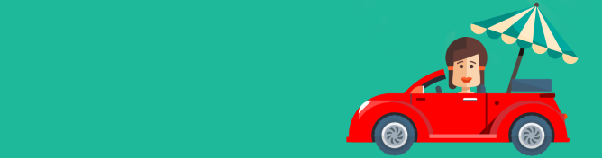 Animation of a woman driving a car with a parasol in the boot