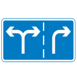 Appropriate lanes for turning road sign