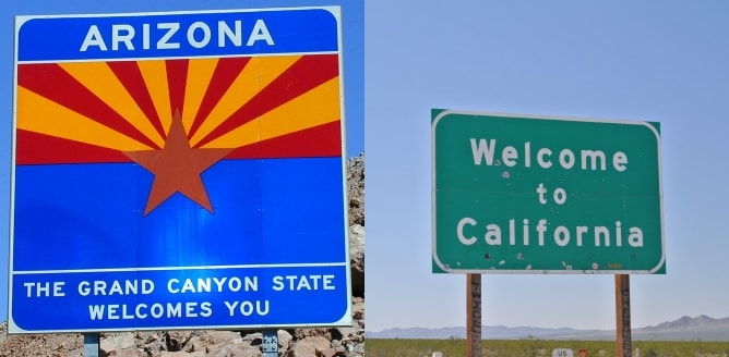 Arizona and California state welcome signs