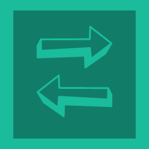 Cartoon image of arrows pointing left and right