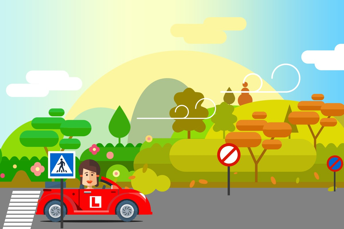 Cartoon of learner driver travelling past changing trees