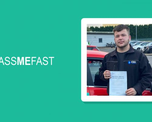 Pass photo of PassMeFast student Ben in PMF frame