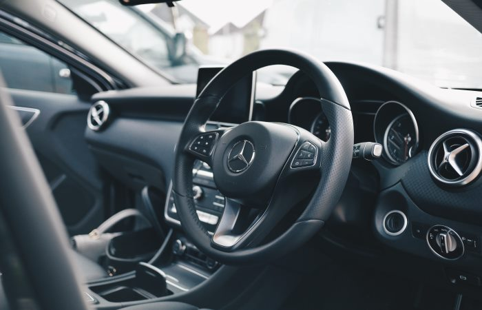 Black Mercedes Benz interior