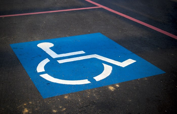 Blue and white disabled parking spot