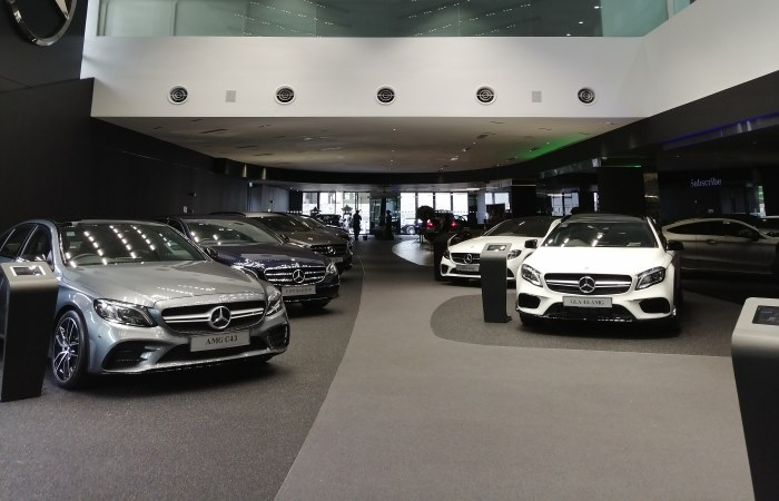New cars inside car dealership