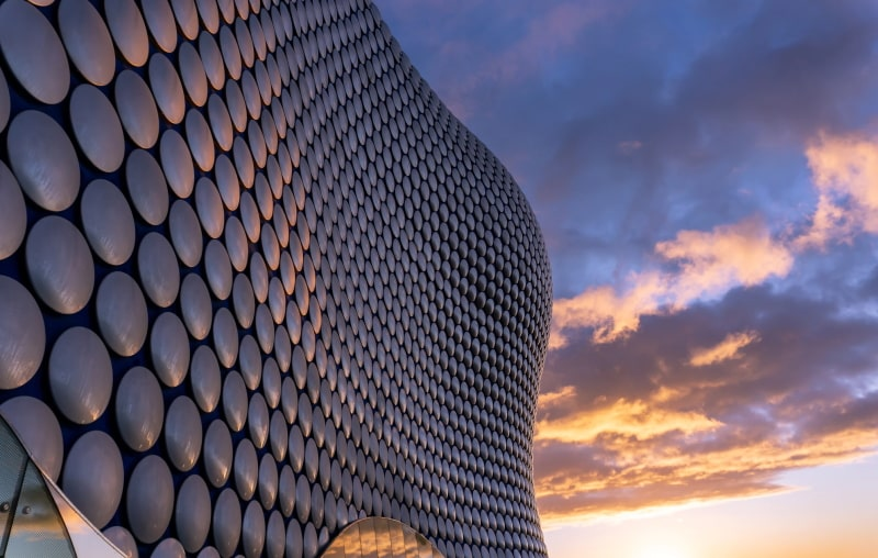 Birmingham's Bullring shopping centre at sunset