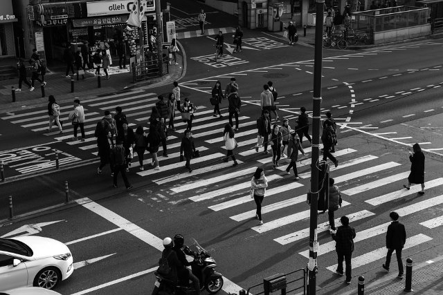 A busy pedestrian crossing in South Korea