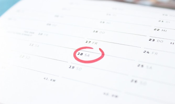 Calendar with date circled