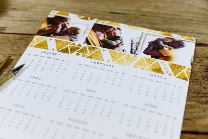 A calendar on a desk
