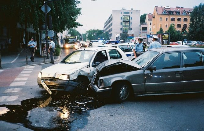 Car accident at a junction in Ljubljana, Slovenia