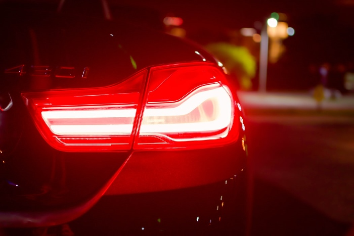 Close up of a car brake light on