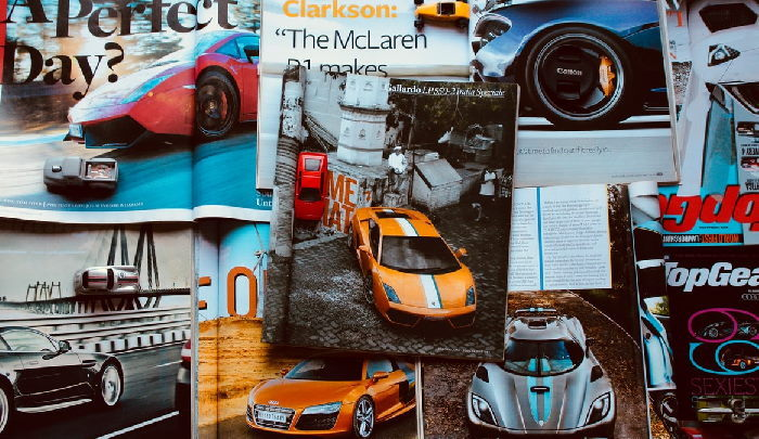 Car magazines piled on top of one another
