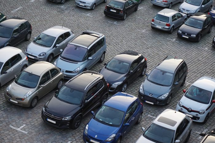 cars parking in bays in a car park