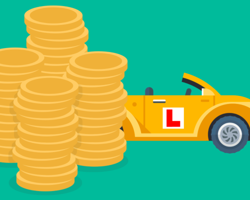 Yellow cartoon car with l-plate next to pile of coins