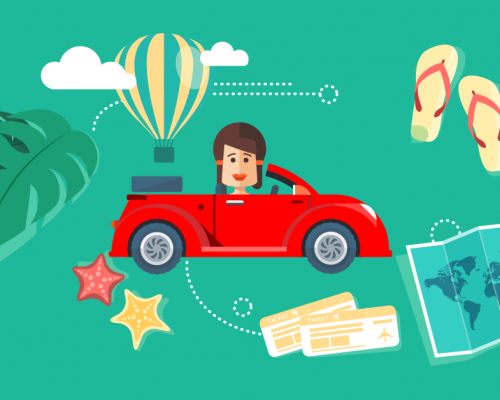 cartoon of person driving car surrounded by holiday items