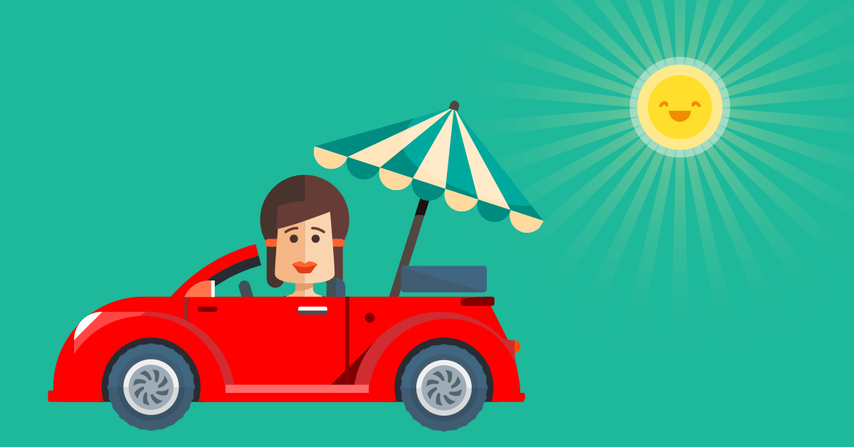 Cartoon of a person driving with a parasol in the back and the sun shining above