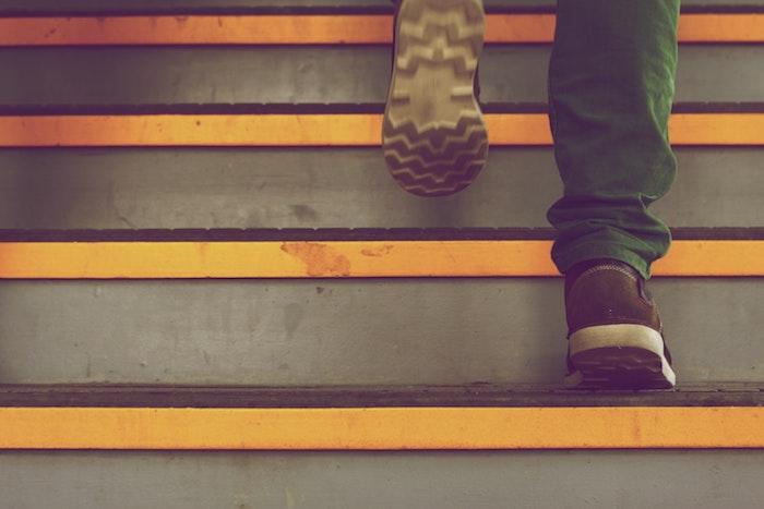 Feet climbing steps