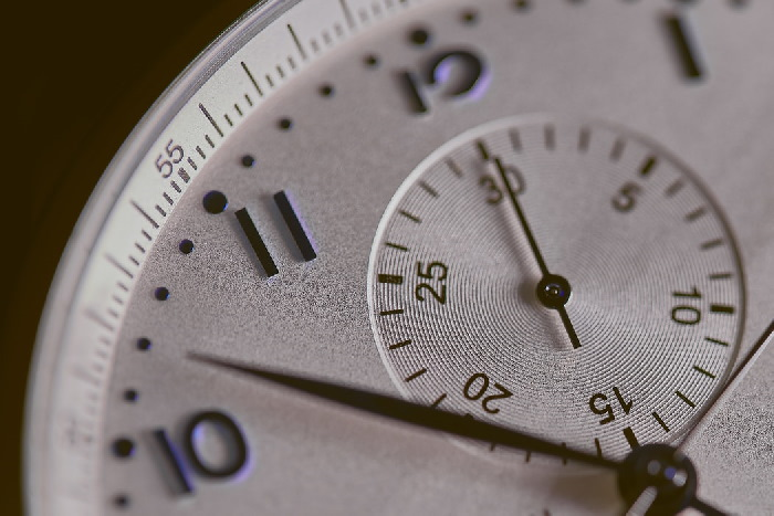 Close up of white clock face