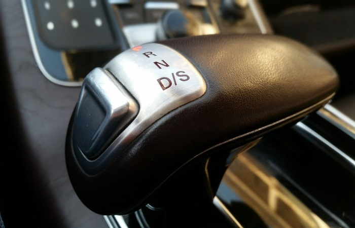 Close up of an automatic gearbox in an Audi