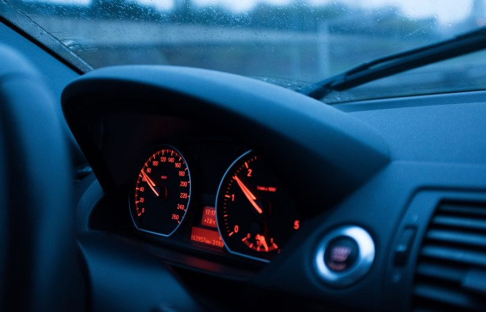 close-up of car with red control dials