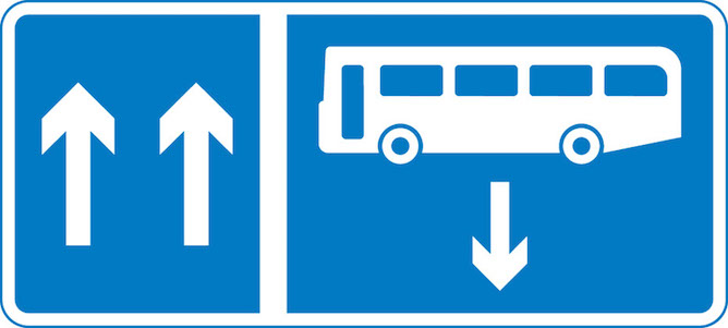 Contraflow bus lane sign