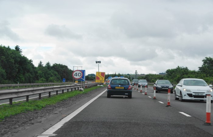 Contraflow system on junction 9 of the m74