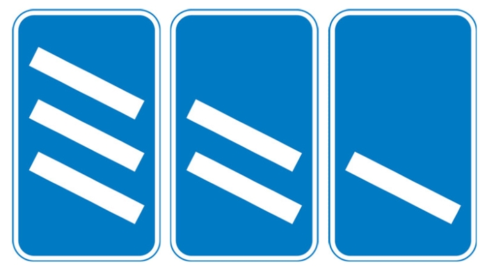 Countdown marker signs at exit from motorway
