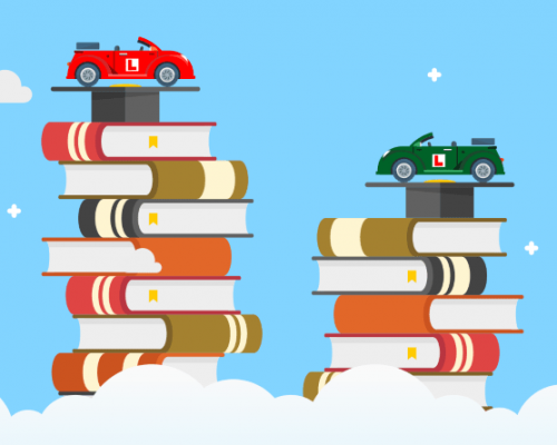 Two stacks of books, one taller than the other, each with a car on top, floating in clouds
