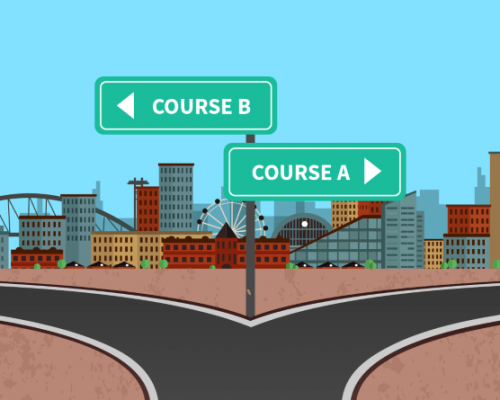 "A cartoon fork in the road and signposts, with one sign marked ""Course B"" pointing left and another with ""Course A"" pointing right, with a cityscape in the background"