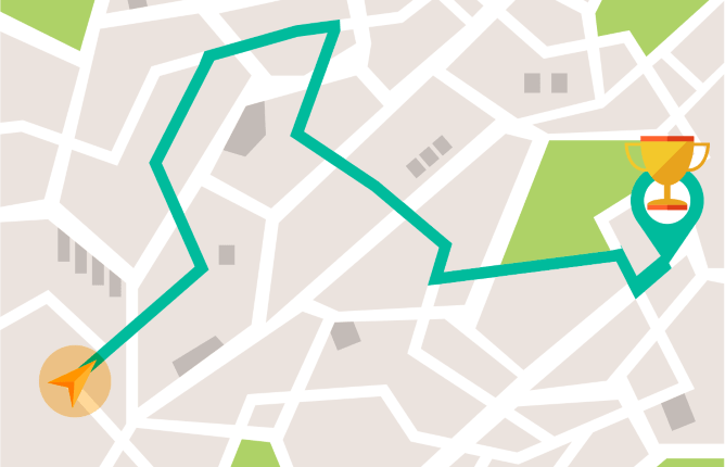 Cartoon map with green line marking route between two markers