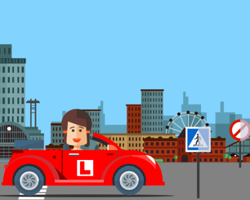 Cartoon woman in red car with L plates driving past a cityscape
